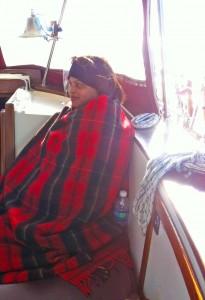 Sharon enjoyed the blanket.